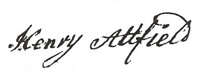 Signature of Henry Attfield (1722-1793)